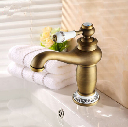 Golden ceramic basin faucet brass bathroom american blue and white porcelain gold plated antique for White porcelain bathroom faucets