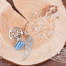 DoreenBeads Handmade Movie Supernatural Pentacle Angel Wings Wishing Bottle Guardian Series Silver Plated Necklace Jewelry(China (Mainland))