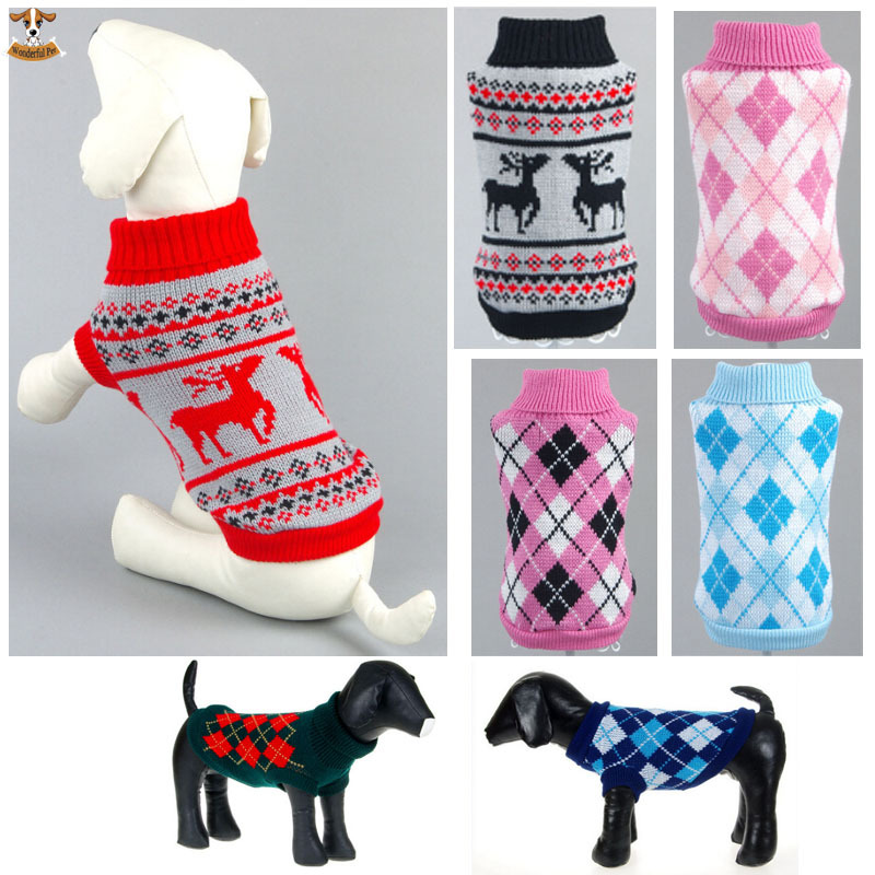 Fashion New British Style Pet Dogs Sweater Cat Plaid Knitwear Clothes Small/Meduim/Large Dog Warm Coat Clothing Christmas Gift(China (Mainland))
