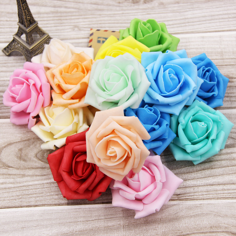 100pcs Artificial Foam Roses For Home And Wedding Decoration Flower Heads Kissing Balls For Weddings Multi Color 7 Cm Diameter(China (Mainland))