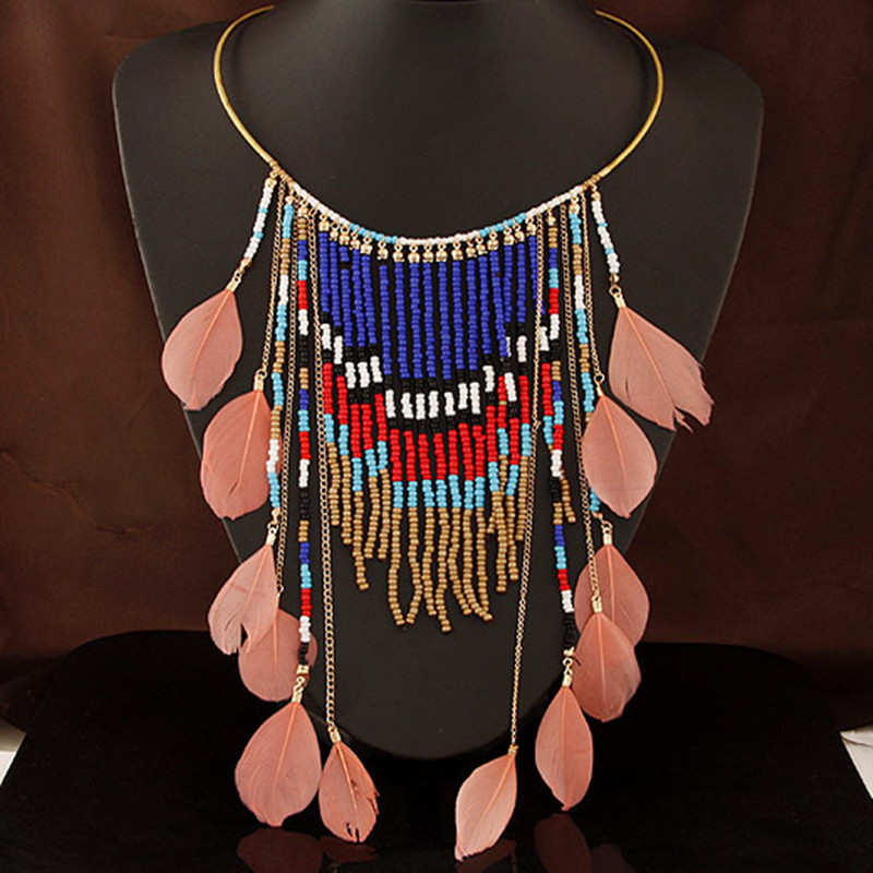 2015 Fashion Gold All Match Collar Necklace Tassel Beads Pendant Choker Necklace Bohemia Feather Necklace Jewelry High Quality(China (Mainland))