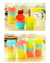 4 pcs set Candy color cup set coffee mug cup with lid tea set zakka travel