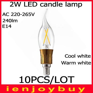 Здесь продается  10pcs/lot Free Shipping 2W E14 COB LED lamps LED White/Warm white High Power led Bulb Lamp Candle Light Energy Saving  Свет и освещение
