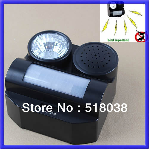 A25 Free Shipping PIR Motion Activated Sound and Flashlight Animal Bats Bird Repeller Repellent(China (Mainland))