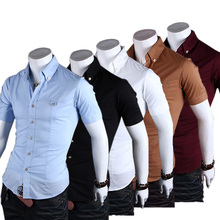 2015 Short Sleeve Mens Slim Fit Shirts Summer Neckline Cotton camisa masculina Breathable Man Shirt Camisa Homme  Mens Clothes