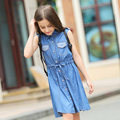 2016 Teens Clothing Denim Cotton Frock Designs Girls Summer Denim Jeans Dresses For Kid s Age5