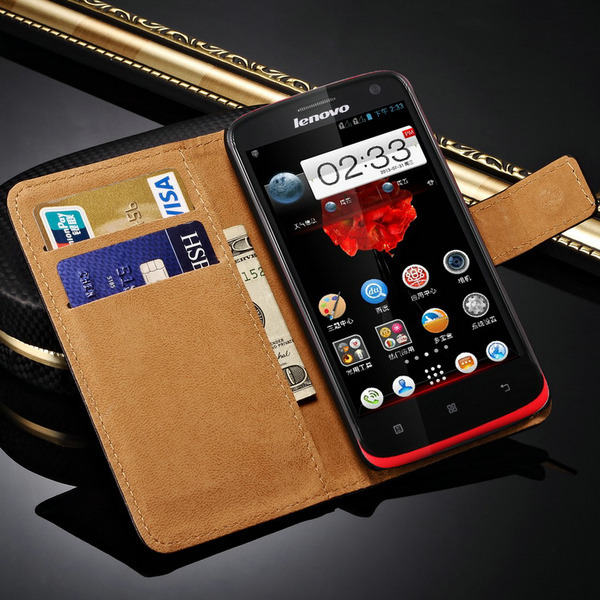 Genuine Leather S820 Wallet Style Phone Bag Case For Lenovo S820 Vintage With Stand Cover With Card Holder New 2015(China (Mainland))