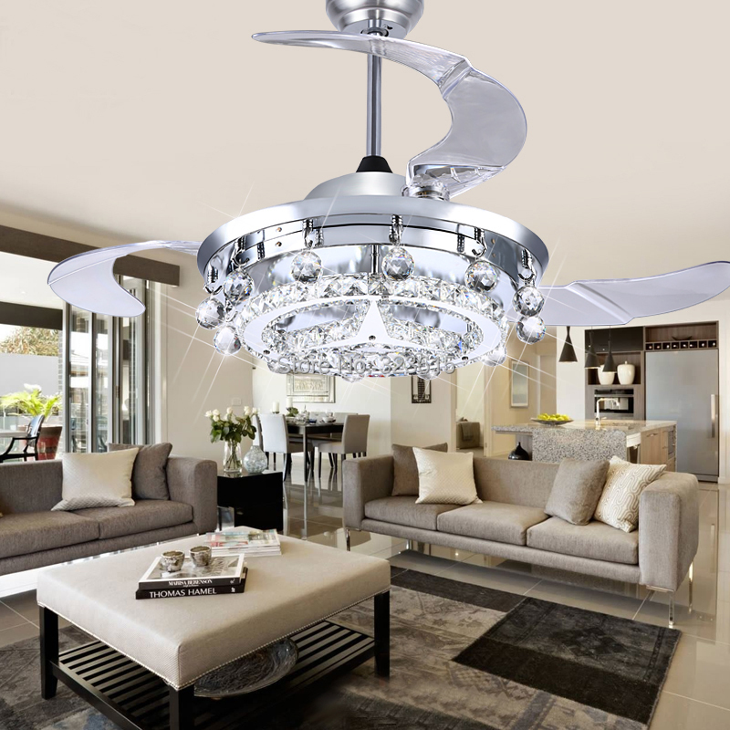 LED Crystal Ceiling Lamp Dining Room Sitting Room Fan Droplight Modern Fashio
