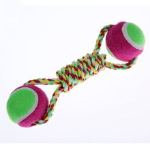 Free Shipping Dog Rope Chewing Toy Dog Cotton Rope Tennis Ball(China (Mainland))