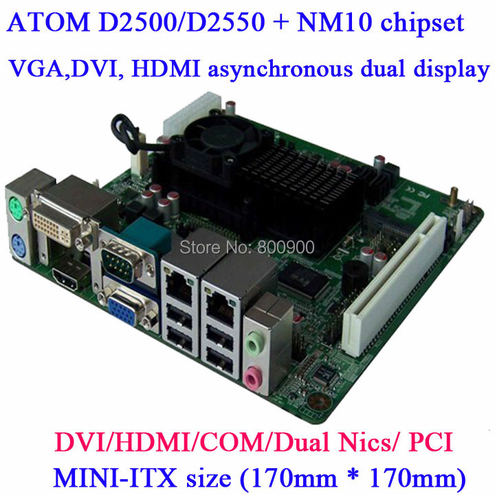 Intel ATOM D2550 MINI ITX industrial motherboard Dual LAN Mini HD HTPC motherboard 2 Gigabit Lan HDMI DVI VGA Dual display(China (Mainland))