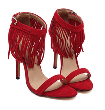 Red/black/beige Fashion Fringe Sandals High Heel Gladiator Women Sandal Boots Dress Party Summer Shoes Woman Wedding shoes