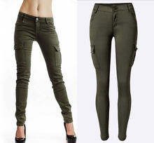 2016 New Styles Mid Waist Elasticity Women Stretch Pencil Jeans Fashion Double Side Pockets Army Green Color Skinny Femme Jeans