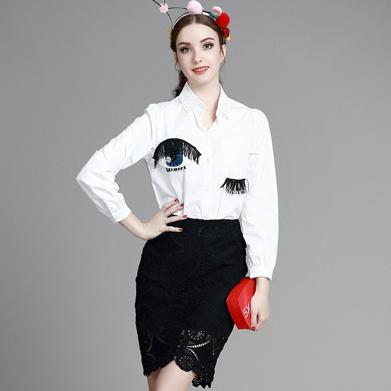 Europe twinset 2016 new spring & summer fashion eye pattern shirt +lace skirt  grace  two piece suit female suit