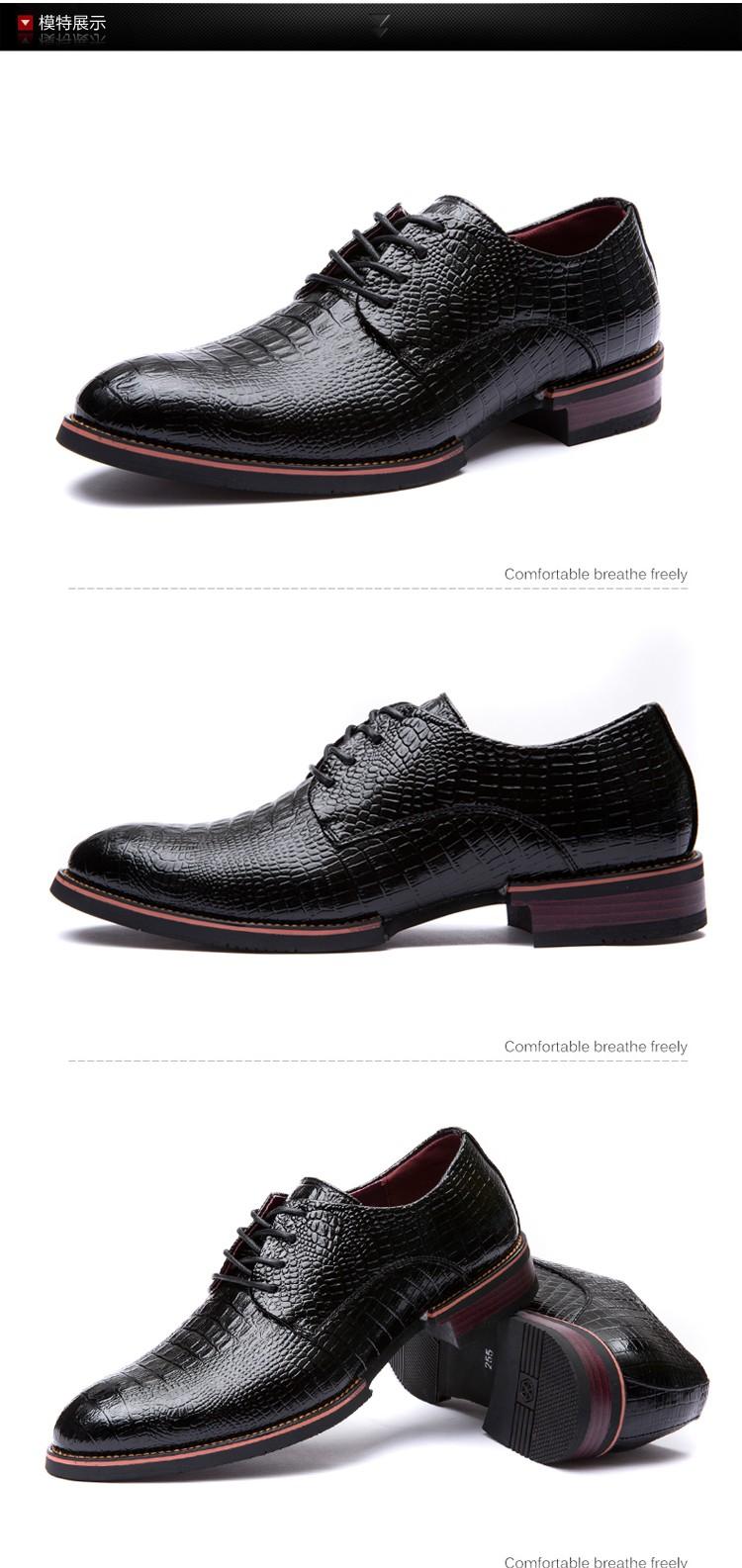 LELE New Fashion Men's Flats Dress Shoes Crocodile Grain High quality Genuine Leather Lace Up Oxford Business Derby Shoe golden