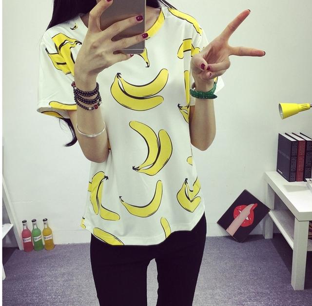 2016 женщин летняя футболка мода прекрасные бананы печатных тонкий с коротким рукавом нижнего платья Высокое качество бесплатная доставка