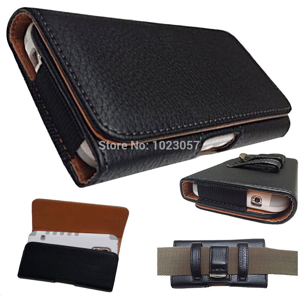 """Doogee F5 5.5 inch Black Leather Flip Belt Clip Hip Loop Holster Pouch Cover Bluboo Dual Doogee Shoot 15.5"""""""