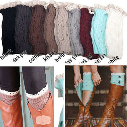 Women's Crochet Knitted Lace Trim Toppers Cuffs Liner Leg Warmers Boot Socks 1SXI(China (Mainland))