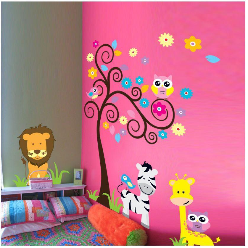 cartoon animal zebra elephant owl lion design zooyoo wall sticker for baby room cute cartoon freshness wall decals sticker(China (Mainland))