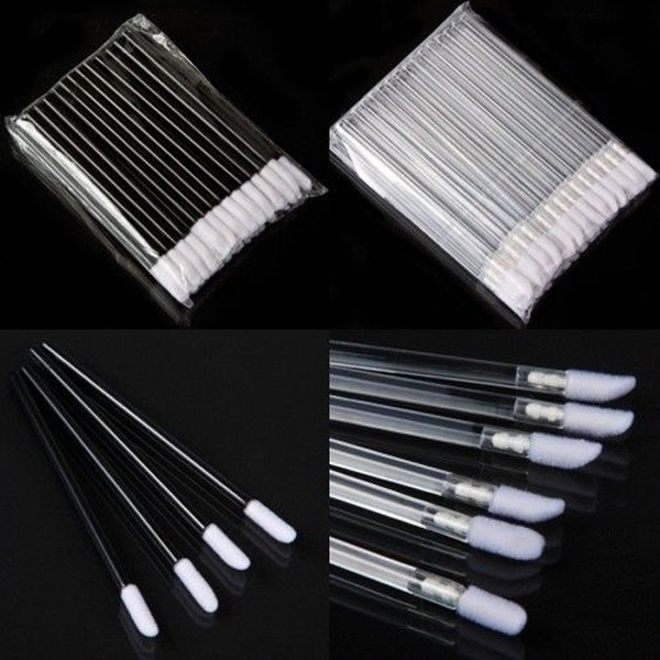 1Set 50PCS x Makeup Tool Disposable Lipstick Eye Gloss Wands Lip Brush Applicators