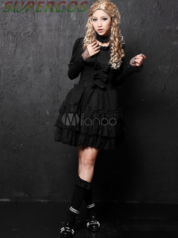 Free shipping! New Arrivals! High Quality! Punk Black Bows Long Sleeves Lolita Dress