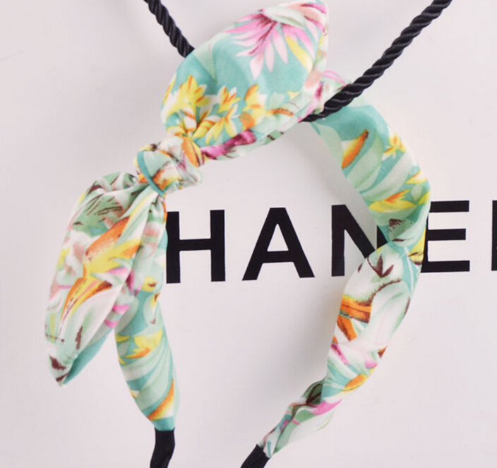 vintage bohemian green blue daisy flower chiffon hairband fabric wrapped headband floral bow cat ear hair accessories(China (Mainland))