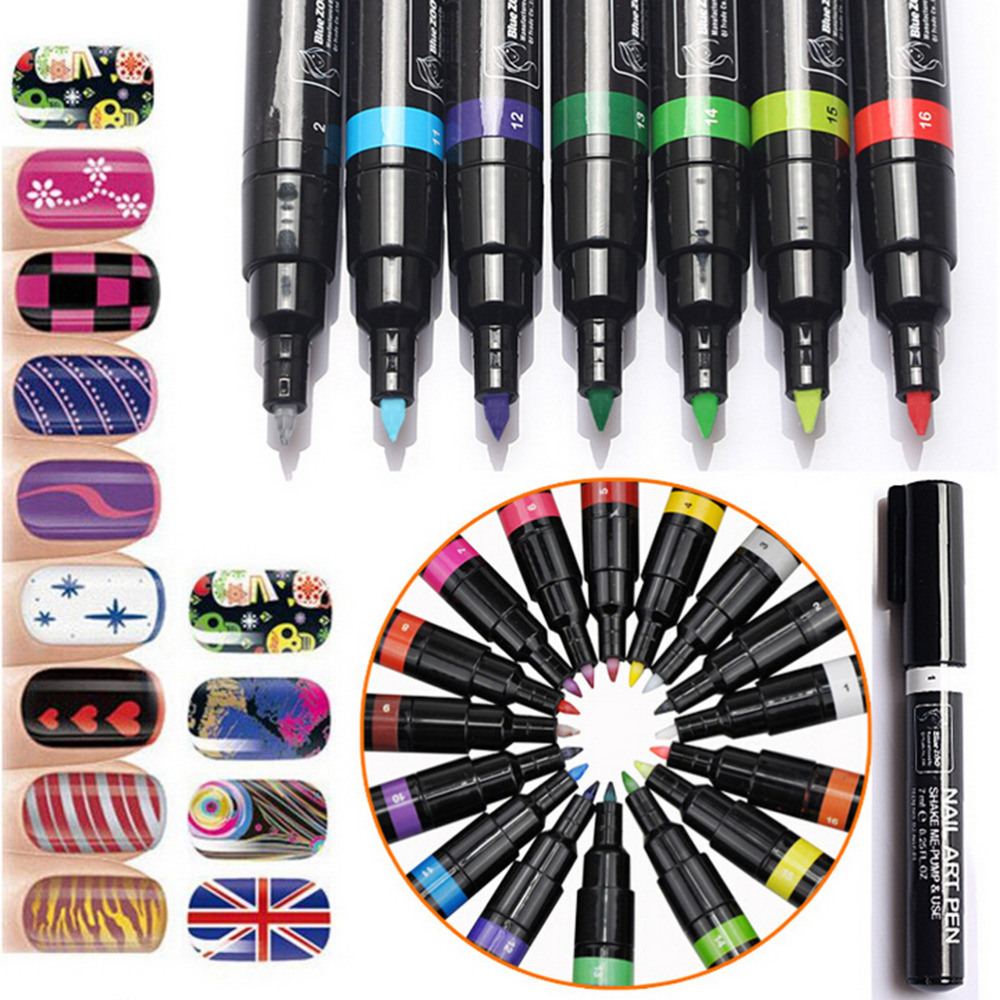 1PCS 3D Nail Art Pen DIY paint Decoration Nail Polish Pen Set 3D Design Nail Beauty Tools for nail gel 16 Colors(China (Mainland))