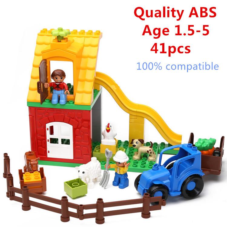 41pcs Big Building Blocks Animals Happy Pasture Little Farm Compatible with Duplo Bricks Educatioinal Learning Toys Bay Blocks<br><br>Aliexpress