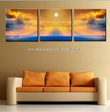 3 Piece Wall Art Ed Oil Paintings Yellow Style Sunshine Sunrise On Sea On Canvas Home Interior Wall Art Wave Art Decor Paint(China (Mainland))