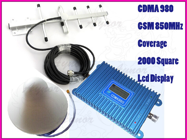 CDMA980 850Mhz mobile phone signal booster repeater amplifier LCD display+yagi antenna 10m cable Ceiling antenna 3m cable(China (Mainland))