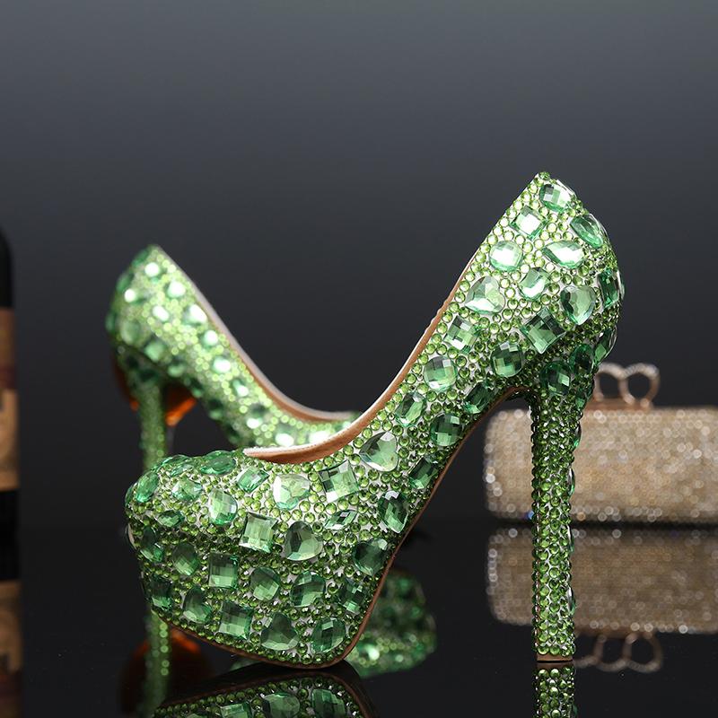 Green Rhinestone Stiletto Heel Bridal Wedding Shoes Bling Bling Crystal Party Prom Pumps Platform Banquet Evening Dress Shoes