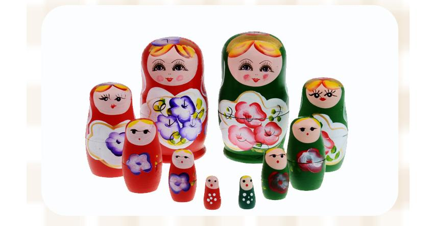 6 colors Children Russia dolls wooden toys/ wood matriarchy puppet each with 5 different size dolls memory toy, free shipping(China (Mainland))