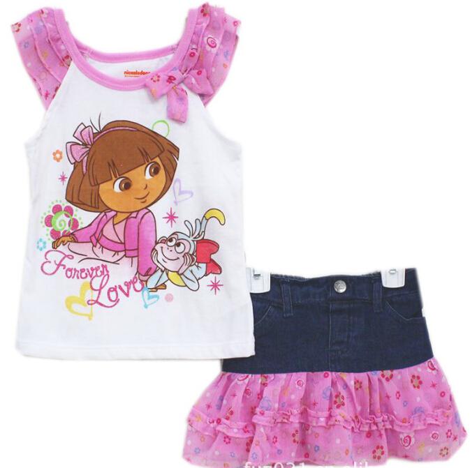 Hot !Summer Children's Dora Clothing Girl Suit Top +Skirt Two Piece Set