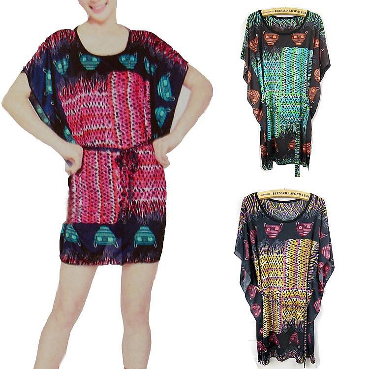 B8816 the new summer flower silk dress Korean leopard Bohemia folk style wholesale(China (Mainland))