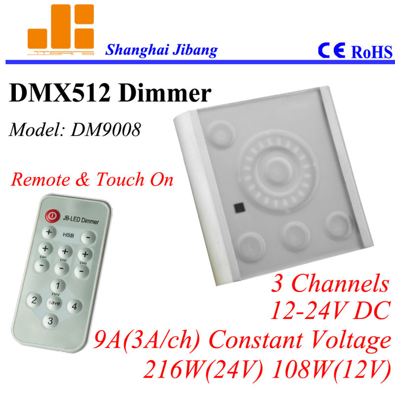 Free Shipping RGB DMX dimmer, Touch Panel&remote DMX controller, DMX pwm driver, 3Channels/12V-24V/9A/216W pn:DM9008(China (Mainland))