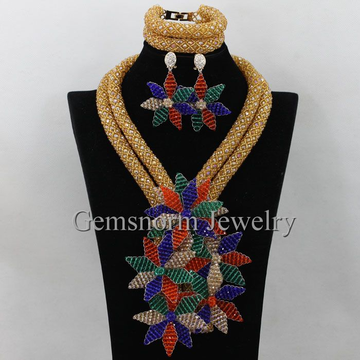 Multicolor Flower Pendant Statement Necklace Set Luxury African Fashion Jewelry Set Floral Necklace Earrings Free Shipping WA234(China (Mainland))