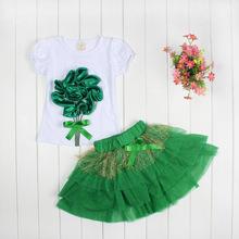 Retail 1 2 years Baby girls suit set 100 Cotton Flowers Vest Tutu Skirt 2 pieces