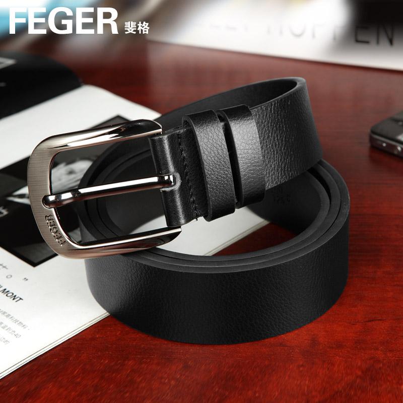 Feger male strap cowhide belt pin buckle all-match pin buckle belt punch