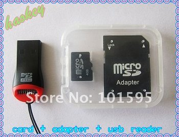 Retail Price for China Post Free!!! 2/4/8/16/32gb micro sd memory card with reader and TF card adapter