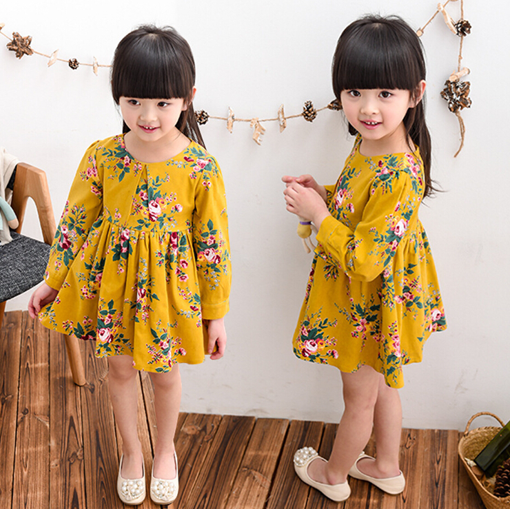 2016 new children girl 90-140 cm 5 size choice yellow printed girl dress children's habiliment girl kid's clothes BC3508(China (Mainland))