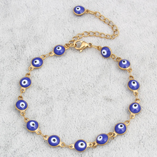 Evil Eye jewelry Bracelet Gold Plated Colorful Enamel Evil Eye Chain Bracelet Bangles Jewelry Womens Evil Eye Jewelry Bracelets(China (Mainland))