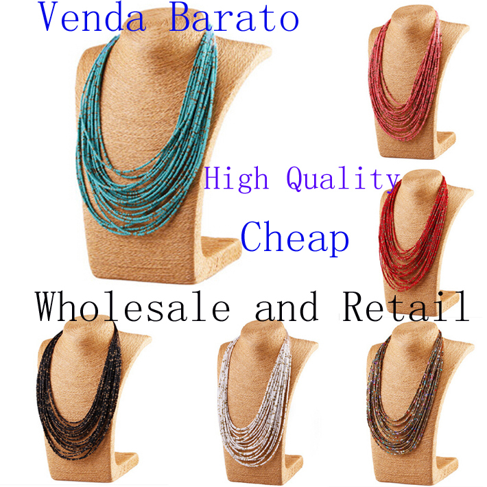 2015 New Multilayer Colorful Beads Bib Necklace Collar Statement Bohemian Ethnic Style For Women Jewellery(China (Mainland))