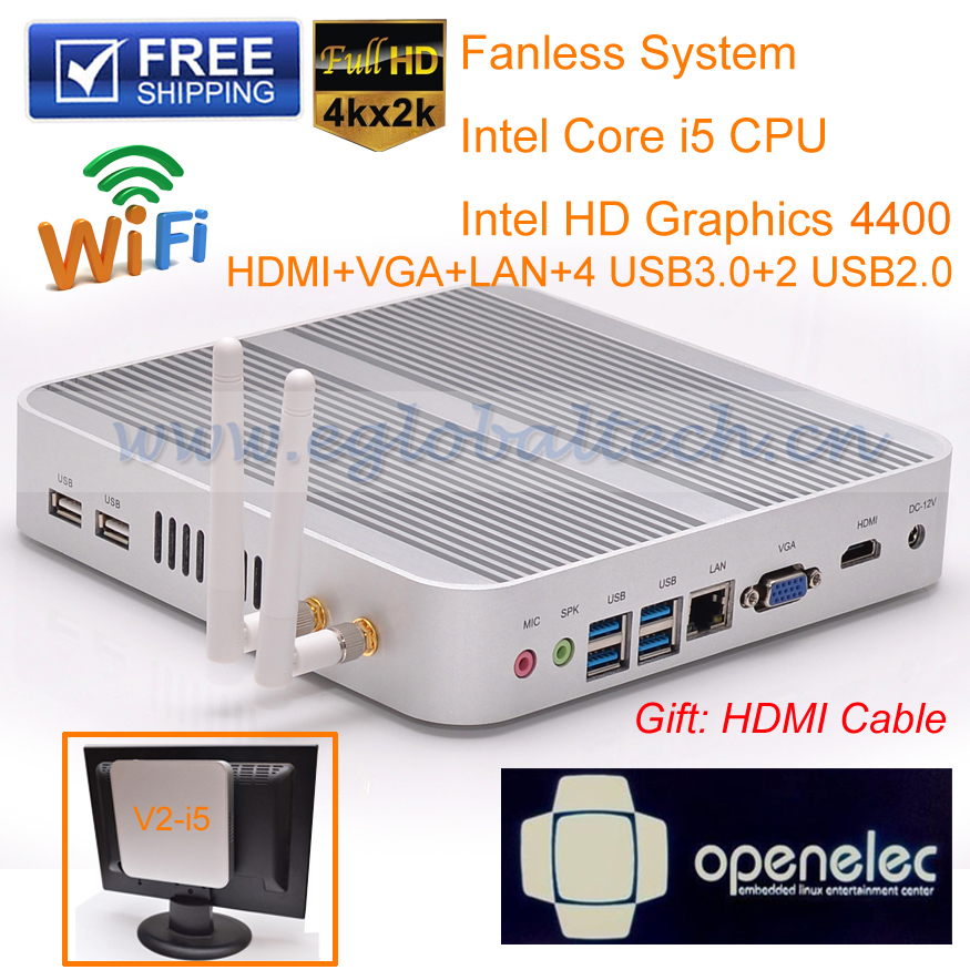 Barebone Laptop XBMC Openelec Thin Client Desktop Computer With Intel Core i5 4200U Support 1080P HD HTPC(China (Mainland))