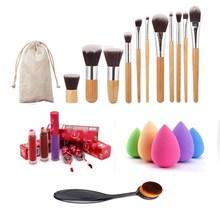 New Professional Makeup Brush Set 11 Makeup Brush+1 Toothbrush Brush+1 Puff Make Up Brushes Kit +1 Lip Gloss Wholesale Price(China (Mainland))