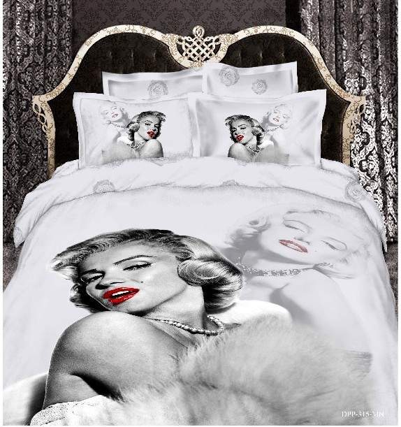 3D Marilyn Monroe bedding  set queen size duvet cover designer bedspread bed in a bag sheets sheet quilt linen bedclothes cotton