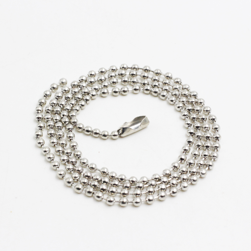 Fashion Silver Ball Bead Necklace High Quality 2mm*60cm Stainless Steel Round Beads Chain Necklaces Men Women Jewelry(China (Mainland))