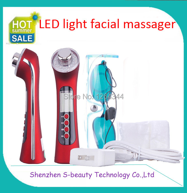 1 Set free shipping 3 color led light photon ultrasonic facial massager skin beauty device  instrument <br><br>Aliexpress