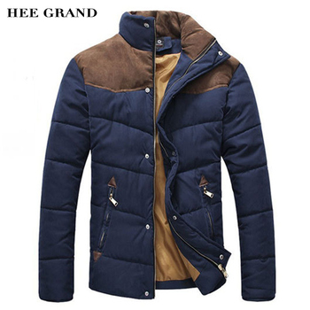 HEE GRAND 2016 Hot Sale Men Winter Splicing Cotton-Padded Coat Jacket Winter Plus Size Parka High Quality MWM169