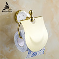 Free Shipping Gold Toilet Paper Holder with diamond Roll Holder Tissue Holder Solid Brass Bathroom Accessories