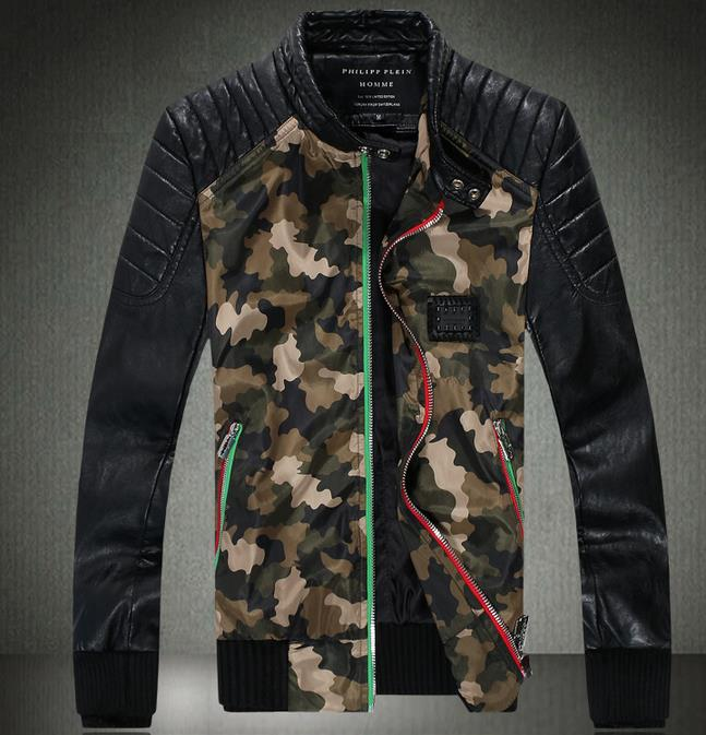 Camouflage autumn splice thicken slim fit men leather jacket motorcycle short coats male fashion european modern urban M - 3XL(China (Mainland))