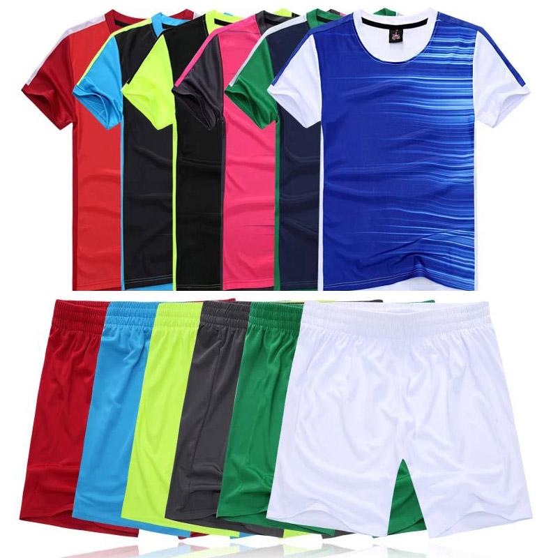 2016 17 Thian Quality Mens Soccer Jersey Set Kids Short sleeve Jersey Football Training Kits Boys Suit DIY logo XXL 3XL(China (Mainland))